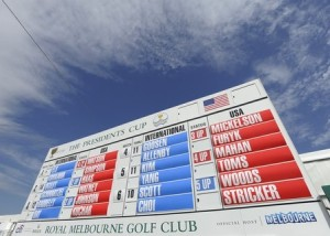 A scenic view of a summary board during the first round of The Presidents Cup at The Royal Melbourne Golf Club